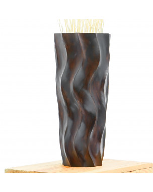 Leewadee Small Floor Standing Vase For Home Decor Centerpiece Table Vase, 6x6x16 inches, Mango Wood, brown