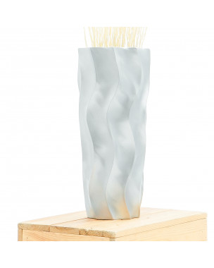Leewadee Small Floor Standing Vase For Home Decor Centerpiece Table Vase, 6x6x16 inches, Mango Wood, silver-coloured