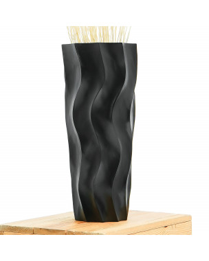 Leewadee Small Floor Standing Vase For Home Decor Centerpiece Table Vase, 6x6x16 inches, Mango Wood, black