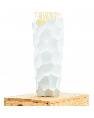 Leewadee Small Floor Standing Vase For Home Decor Centerpiece Table Vase, 6x6x16 inches, Mango Wood, white