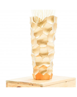 Leewadee Small Floor Standing Vase For Home Decor Centerpiece Table Vase, 6x6x16 inches, Mango Wood, golden