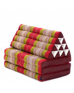 Leewadee XL Foldout Triangle Thai Cushion, 67x31x16 inches, Kapok, green red