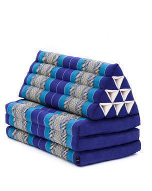 Leewadee XL Foldout Triangle Thai Cushion, 67x31x13 inches, Kapok, blue