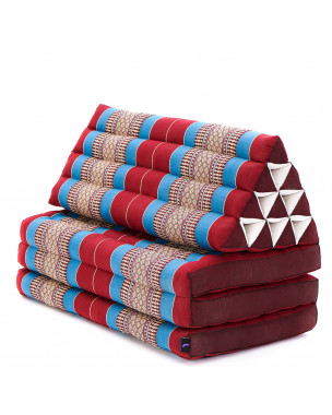 Leewadee XL Foldout Triangle Thai Cushion, 67x31x16 inches, Kapok, blue red