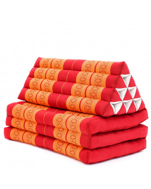 Leewadee XL Foldout Triangle Thai Cushion, 67x31x16 inches, Kapok, orange red