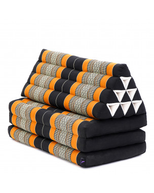 Leewadee XL Foldout Triangle Thai Cushion, 67x31x16 inches, Kapok, black orange