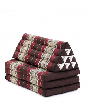 Leewadee XL Foldout Triangle Thai Cushion, 67x31x16 inches, Kapok, brown red