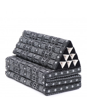 Leewadee XL Foldout Triangle Thai Cushion, 67x31x16 inches, Kapok, black