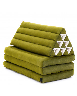 Leewadee XL Foldout Triangle Thai Cushion, 67x31x13 inches, Kapok, green