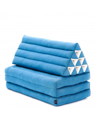 Leewadee XL Foldout Triangle Thai Cushion, 67x31x16 inches, Kapok, light blue