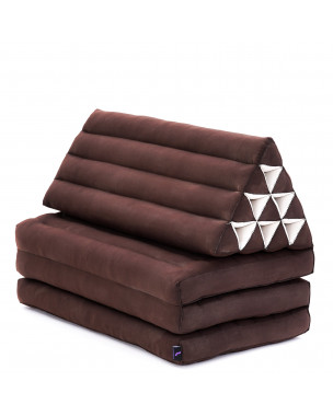 Leewadee XL Foldout Triangle Thai Cushion, 67x31x16 inches, Kapok, brown