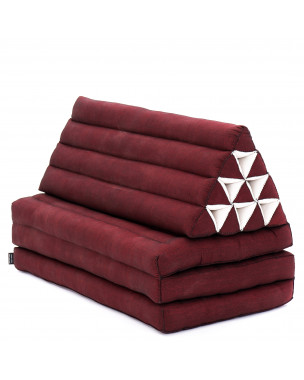 Leewadee XL Foldout Triangle Thai Cushion, 67x31x13 inches, Kapok, red