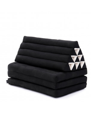 Leewadee XL Foldout Triangle Thai Cushion, 67x31x13 inches, Kapok, black