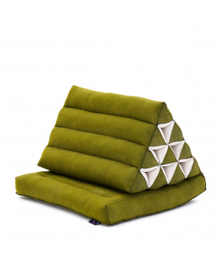 Leewadee Foldout Triangle Thai-Cushion Floor-Seat with Back-Rest Reading Pillow TV Pillow Lounge-r Foldable Out-Door Mattress , 30x20x13 inches, Kapok, green