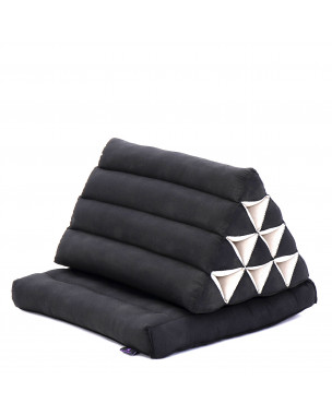 Leewadee Foldout Triangle Thai-Cushion Floor-Seat with Back-Rest Reading Pillow TV Pillow Lounge-r Foldable Out-Door Mattress , 30x20x16 inches, Kapok, black