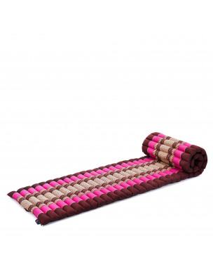 Leewadee Rollbare Thai Matte, 200x50x5 cm, Platzsparende Gästematratze für 1 person Yogamatte Massagematte Ökologisches Naturprodukt,  Kapok, pink rotbraun