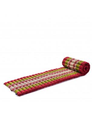 Leewadee Rollbare Thai Matte, 200x50x5 cm, Platzsparende Gästematratze für 1 person Yogamatte Massagematte Ökologisches Naturprodukt,  Kapok, grün rot