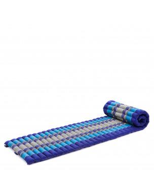 Leewadee Rollbare Thai Matte, 200x50x5 cm, Platzsparende Gästematratze für 1 person Yogamatte Massagematte Ökologisches Naturprodukt,  Kapok, blau