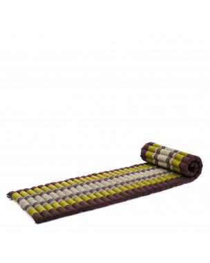 Leewadee Rollbare Thai Matte, 200x50x5 cm, Platzsparende Gästematratze für 1 person Yogamatte Massagematte Ökologisches Naturprodukt,  Kapok, braun grün
