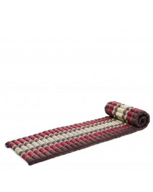 Leewadee Rollbare Thai Matte, 200x50x5 cm, Platzsparende Gästematratze für 1 person Yogamatte Massagematte Ökologisches Naturprodukt,  Kapok, braun rot