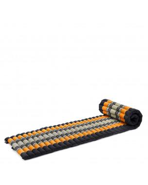 Leewadee Rollbare Thai Matte, 200x50x5 cm, Platzsparende Gästematratze für 1 person Yogamatte Massagematte Ökologisches Naturprodukt,  Kapok, orange schwarz