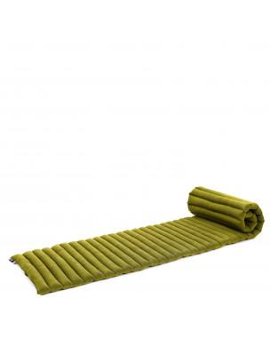 Leewadee Rollbare Thai Matte, 200x50x5 cm, Platzsparende Gästematratze für 1 person Yogamatte Massagematte Ökologisches Naturprodukt,  Kapok, grün