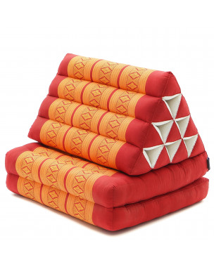 Leewadee Foldout Triangle Thai-Cushion Floor-Seat with Back-Rest TV Pillow Lounge-r Foldable Out-Door Mattress , 45x20x13 inches, Kapok, orange red