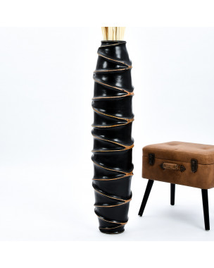 Leewadee Large Floor Vase – Handmade Flower Holder Made of Wood, Sophisticated Vessel for Decorative Branches and Dried Flowers, 44 inches, black