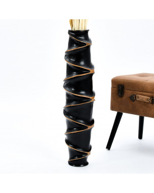 Leewadee Large Floor Vase – Handmade Flower Holder Made of Wood, Sophisticated Vessel for Decorative Branches and Dried Flowers, 30 inches, black
