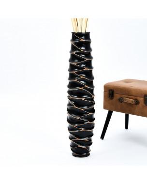 Leewadee Large Floor Vase – Handmade Flower Holder Made of Wood, Sophisticated Vessel for Decorative Branches and Dried Flowers, 36 inches, black