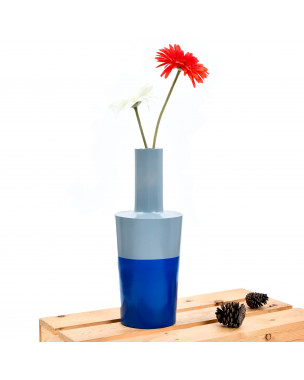 Leewadee Small Floor Standing Vase For Home Decor Centerpiece Table Vase, 6x16 inches, Mango Wood, blue grey