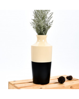 Leewadee Small Floor Standing Vase For Home Decor Centerpiece Table Vase, 7x16 inches, Mango Wood, black brown