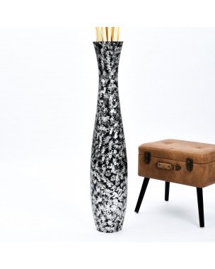 Leewadee Tall Big Floor Standing Vase For Home Decor 44 inches, Mango Wood, black silver-coloured