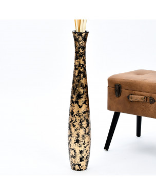 Leewadee Large Floor Vase – Handmade Flower Holder Made of Wood, Sophisticated Vessel for Decorative Branches and Dried Flowers, 30 inches, black golden