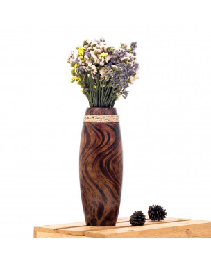 Leewadee Small Floor Standing Vase For Home Decor Centerpiece Table Vase, 6x16 inches, Mango Wood, brown light brown