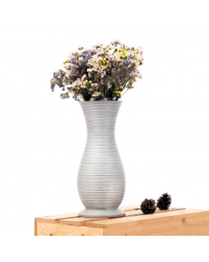 Leewadee Small Floor Vase – Handmade Flower Holder Made of Mango Wood, Sophisticated Vase for Decorative Twigs and Flowers, 16 inches, silver-coloured