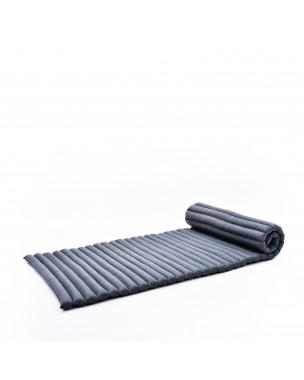 Leewadee Rollbare Thaimatte, 200x76x5 cm, Gästematratze Schlafmatte Yogamatte Massagematte Ökologisches Naturprodukt Thai Matte,  Kapok, anthrazit
