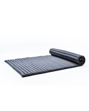 Leewadee Rollbare Thai Matte, 200x105x5 cm, Breite Gästematratze Yogamatte Massagematte Ökologisches Naturprodukt,  Kapok, anthrazit