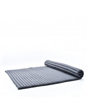 Leewadee Rollbare XL Thai Matte, 200x145x5 cm, Extrabreite Gästematratze Yogamatte Massagematte Ökologisches Naturprodukt,  Kapok, anthrazit