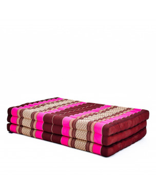 Leewadee Large Foldable Thai Mattress, 79x41x3 inches, Guest Bed Tri-Fold Yoga Floor Mat Thai Massage Pad TV Floor Seat with Backrest Game Chair Eco-Friendly Organic and Natural,  Kapok, auburn pink