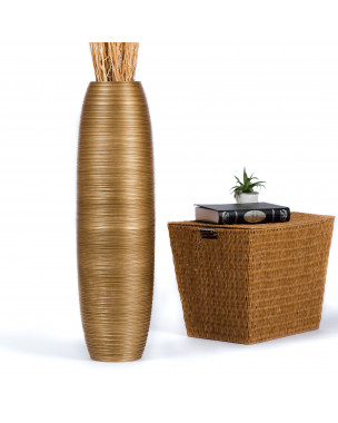 Leewadee Tall Big Floor Standing Vase For Home Decor 36 inches, Mango Wood, golden
