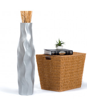 Leewadee Large Floor Vase – Handmade Flower Holder Made of Wood, Sophisticated Vessel for Decorative Branches and Dried Flowers, 30 inches, silver-coloured