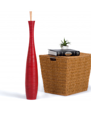 Leewadee Tall Big Floor Standing Vase For Home Decor 30 inches, Mango Wood, red