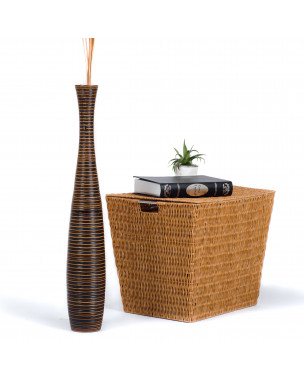Leewadee Large Floor Vase – Handmade Flower Holder Made of Wood, Sophisticated Vessel for Decorative Branches and Dried Flowers, 30 inches, brown