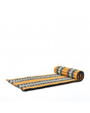 Leewadee Rollbare Thaimatte, 200x76x5 cm, Gästematratze Schlafmatte Yogamatte Massagematte Ökologisches Naturprodukt Thai Matte,  Kapok, orange schwarz