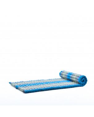 Leewadee Rollbare Thaimatte, 200x76x5 cm, Gästematratze Schlafmatte Yogamatte Massagematte Ökologisches Naturprodukt Thai Matte,  Kapok, hellblau