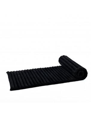Leewadee Rollbare Thaimatte, 200x76x5 cm, Gästematratze Schlafmatte Yogamatte Massagematte Ökologisches Naturprodukt Thai Matte,  Kapok, schwarz