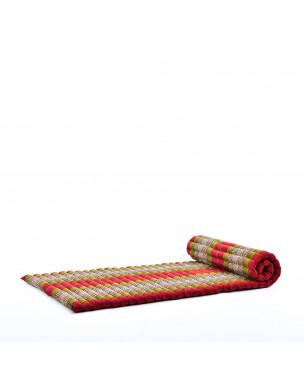 Leewadee Rollbare Thaimatte, 200x76x5 cm, Gästematratze Schlafmatte Yogamatte Massagematte Ökologisches Naturprodukt Thai Matte,  Kapok, grün rot