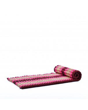 Leewadee Rollbare Thaimatte, 200x76x5 cm, Gästematratze Schlafmatte Yogamatte Massagematte Ökologisches Naturprodukt Thai Matte,  Kapok, pink rotbraun