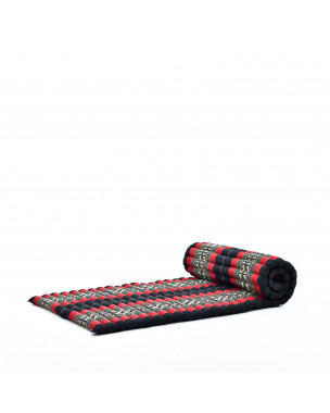 Leewadee Roll-Up Thai Mattress, 79x30x2 inches, Guest Bed Yoga Floor Mat Thai Massage Pad Eco-Friendly Organic and Natural,  Kapok, black red